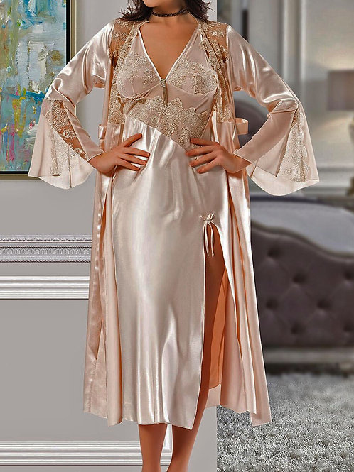 Champagne Gold Slip Dress and Gown Set