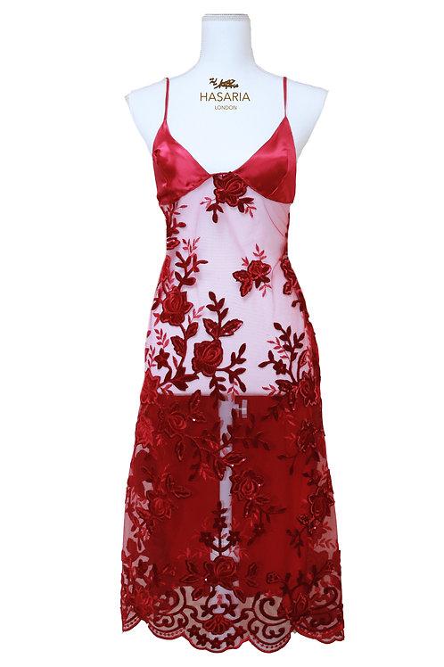 Silk Embellished Slip Dress