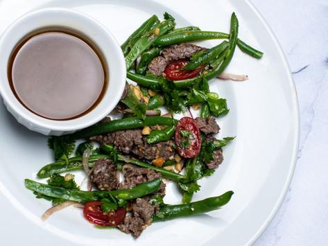 Grilled Elk Steak, Green Bean Salad with Citrus Vinaigrette