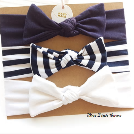 Nautical topknot headband set