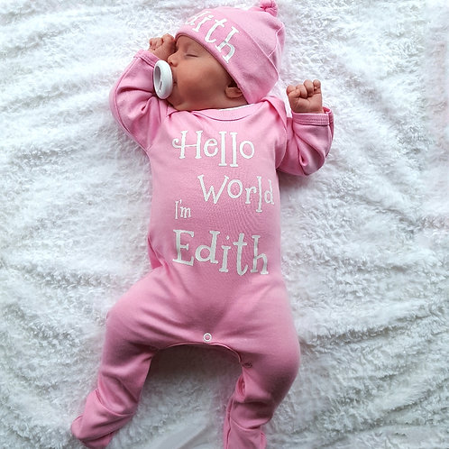 Personalised Hello World Rompersuit & Hat set