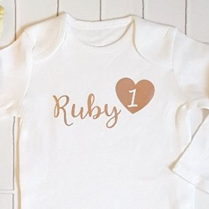 Personalised name & heart playsuit