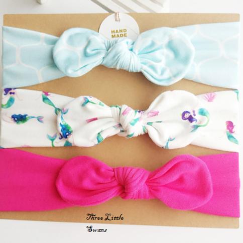 Mermaid topknot headband set