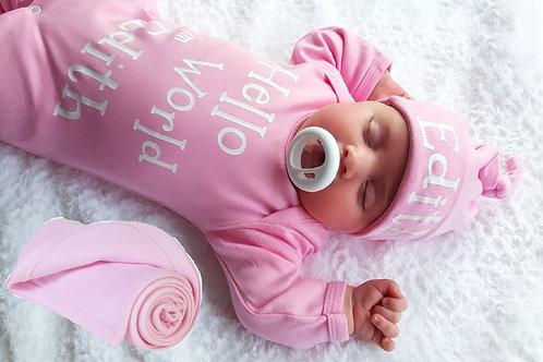 Personalised Hello World Rompersuit, Hat & Blanket set
