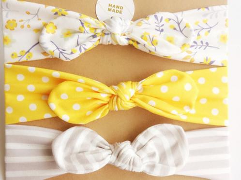 Yellow topknot headband set