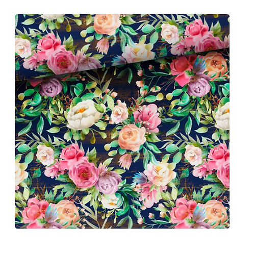 Peonies & Navy Blue leggings or bike shorts