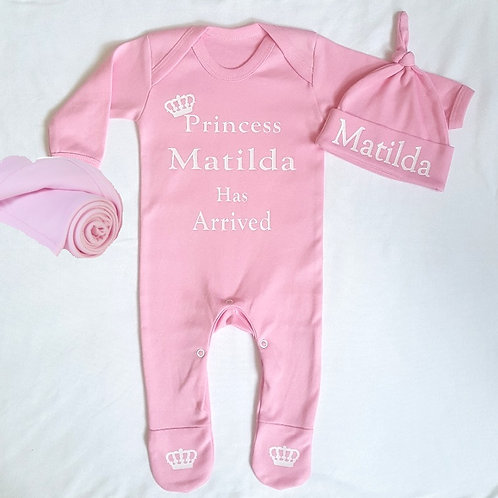 Personalised Princess Rompersuit, Hat & Blanket set