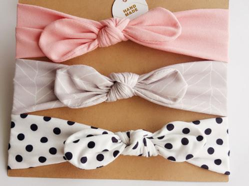 Neutral topknot headband set