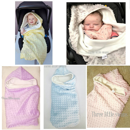 Hooded car seat blanket