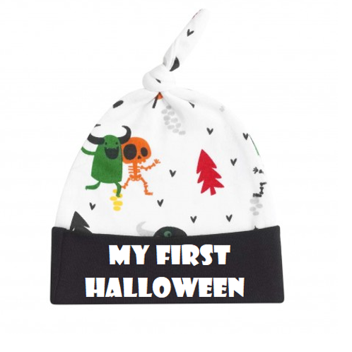 My first Halloween monsters knotted hat