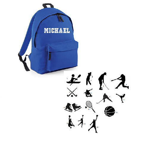 Create your own 'Sports' Junior Backpack (lots of sports images)