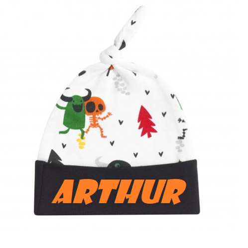 Personalised Halloween monsters knotted hat