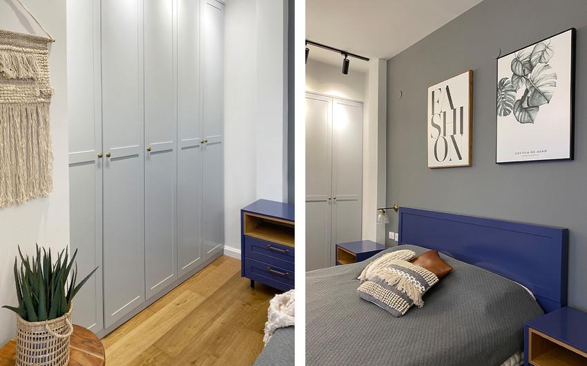 הלבשה חדר שינה, עיצוב פנים, חדר שינה בגוונים כחולים, הדירה בנצרת
