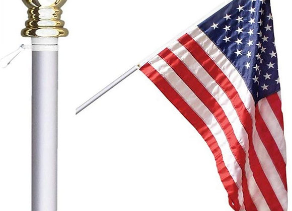 3 Piece Combination - US made Flag, non-tangling flag pole and base