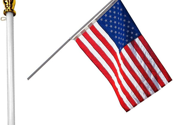 3 piece combination - World US Flag, non-tangling pole & multi-positioning base