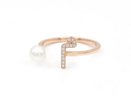 "Pearl Drop Ring- ""M"""