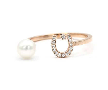 "Pearl Drop Ring- ""N"""