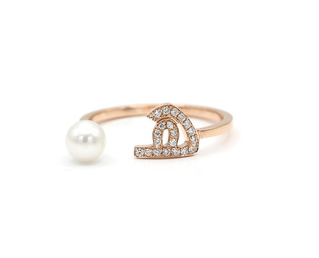 "Pearl Drop Ring- ""H"""
