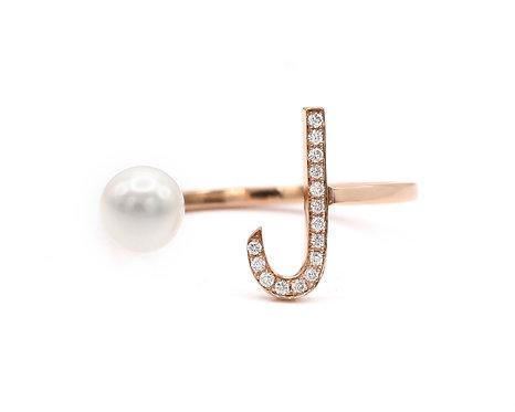 """Pearl Drop Ring - """"L"""""""