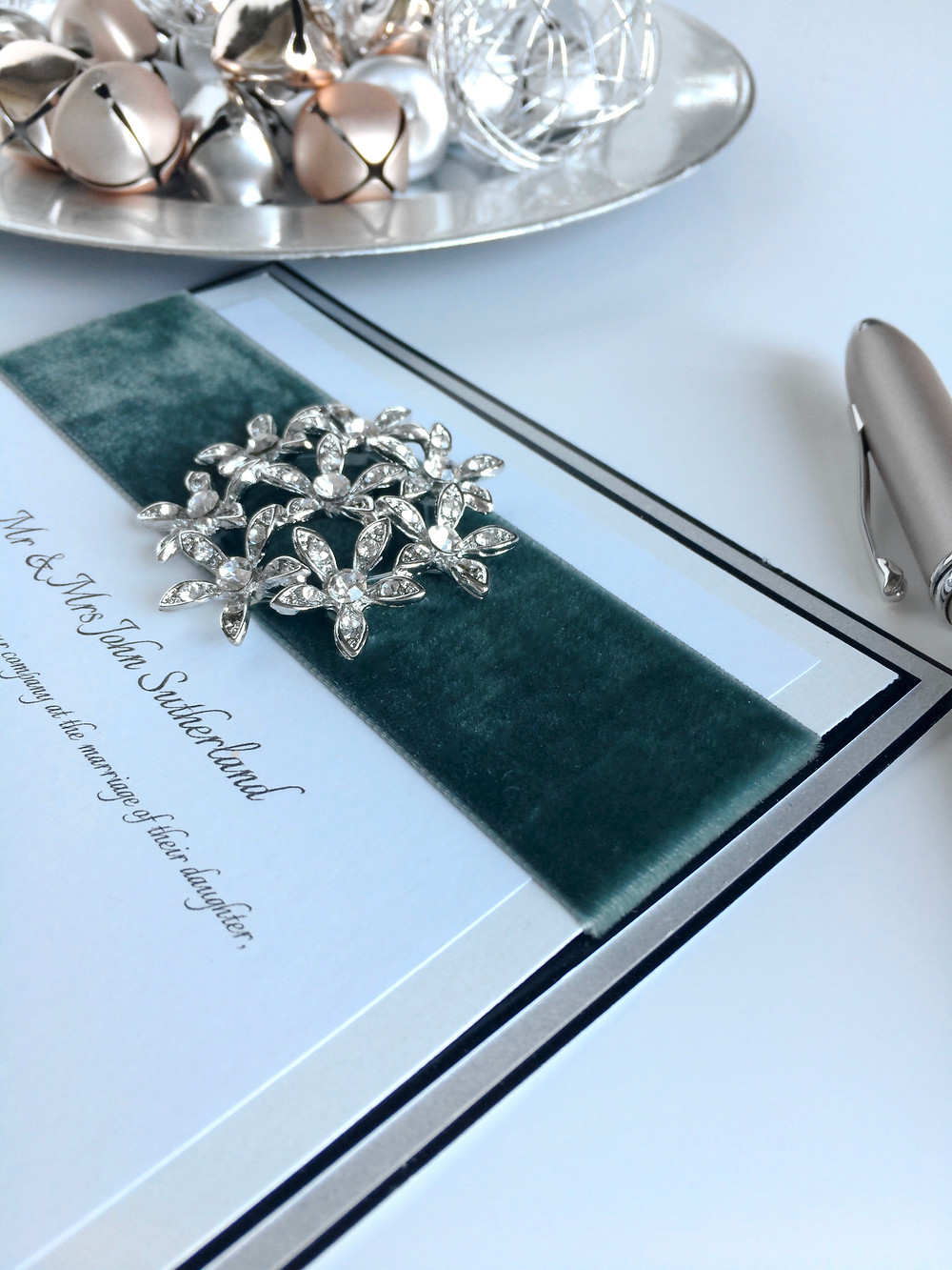 opulent Berisfords velvet and diamante wedding invitation by AniMac Wedding