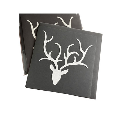 Grey Stag Head Cards (pack of 5)