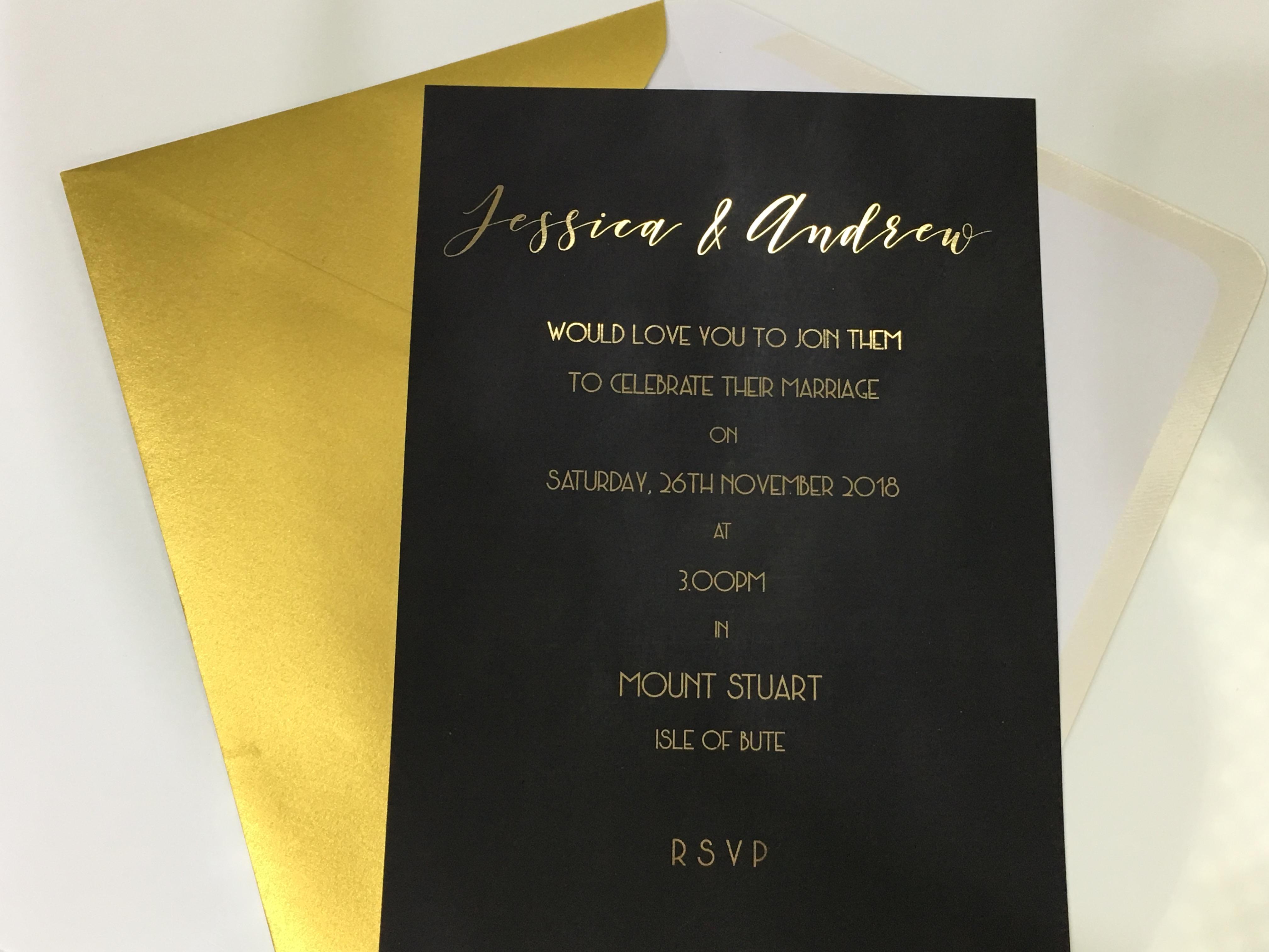 Gold Chalkboard Wedding Invitation