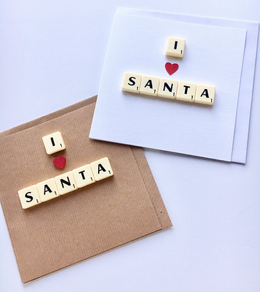 I love Santa Scrabble Christmas Cards