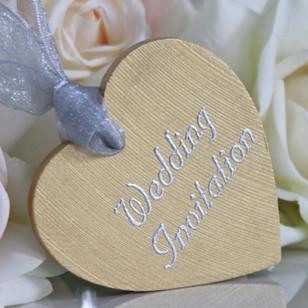 Wooden Heart Wedding Invitation