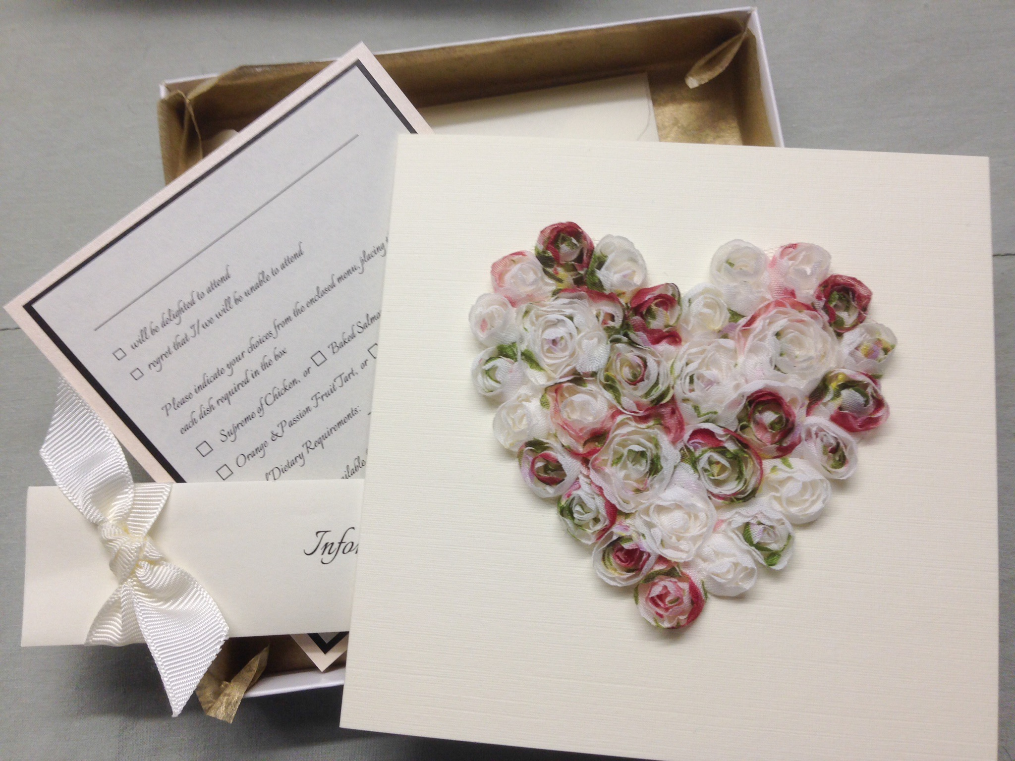 Boxed Chiffon Rose Wedding Invitation
