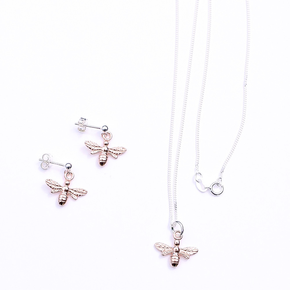Honey bee earrings and pendant in sterling silver with rose gold plating from the Hive collection