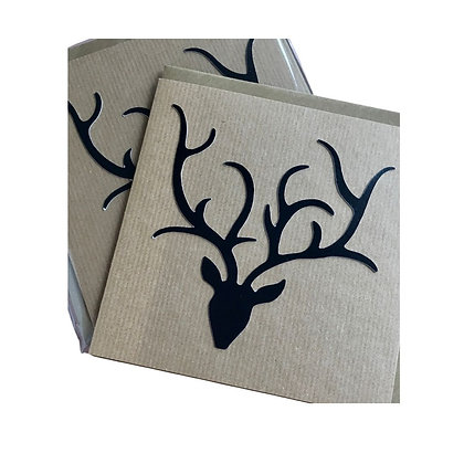 Black Stag Head Cards (pack of 5)