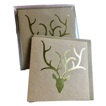 Gold Stag Head Cards (pack of 5)