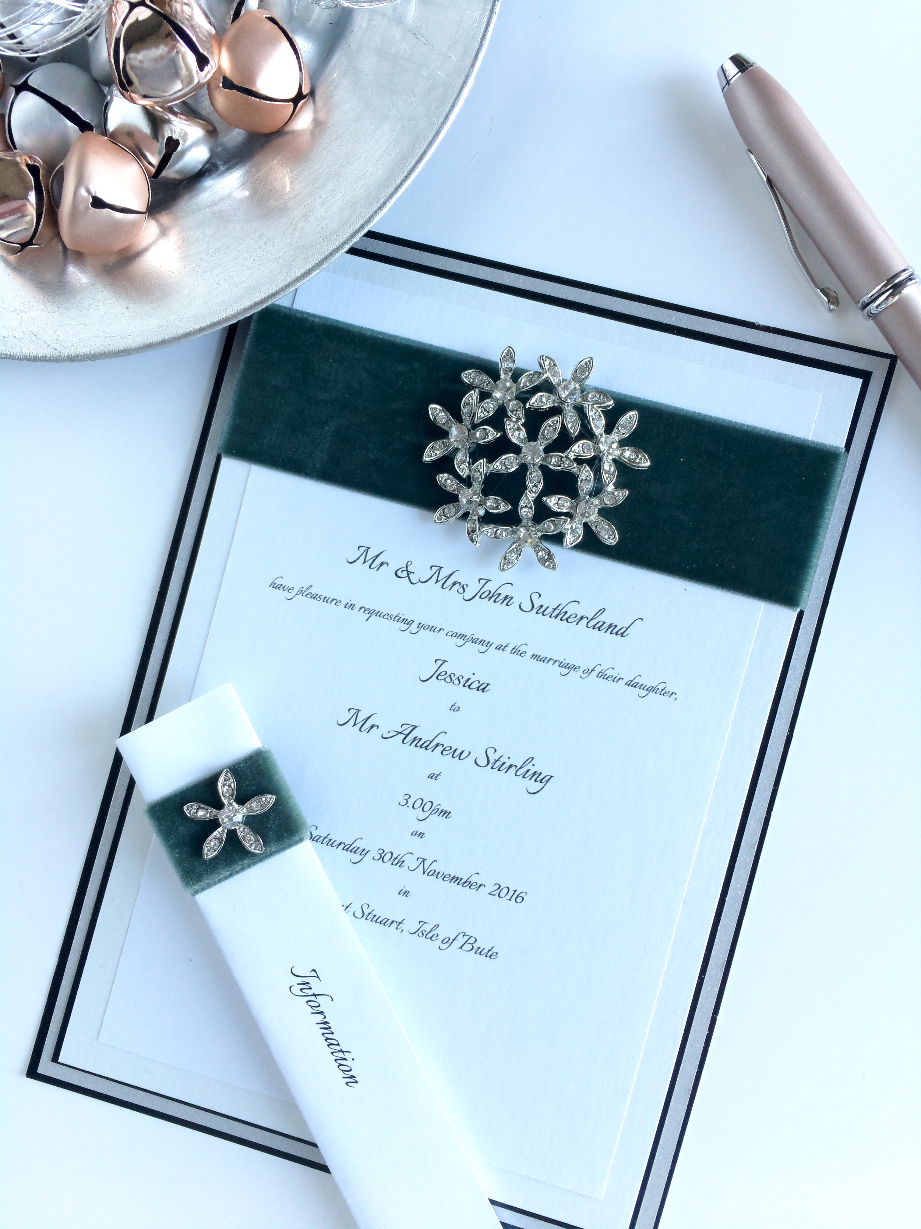 Velvet + Diamante Wedding Invitation
