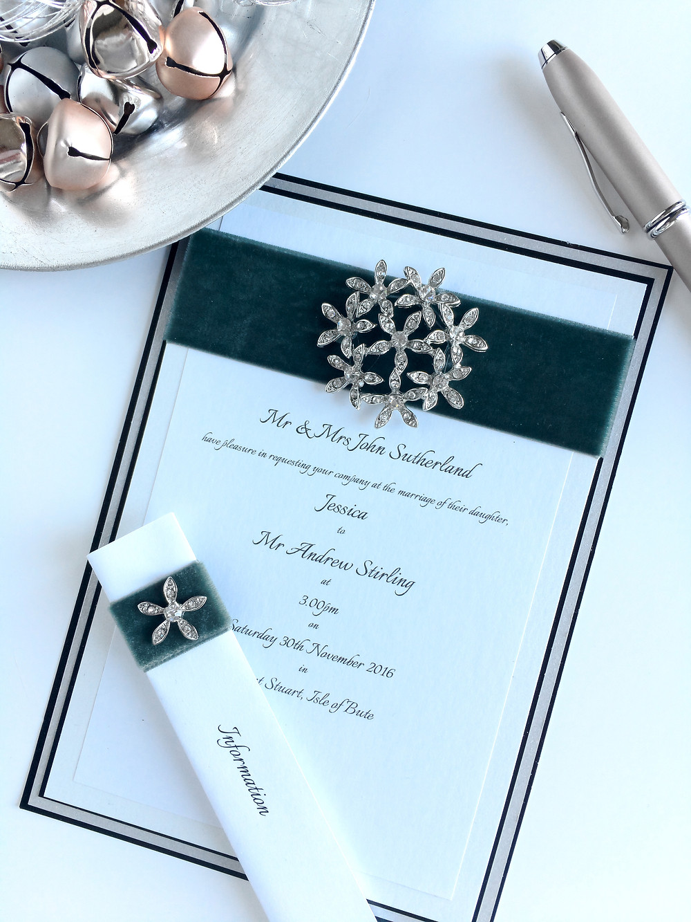 opulent Berisfords velvet and diamante wedding invitation y AniMac Wedding