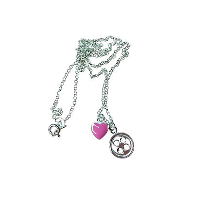 Pink Heart + Button Necklace