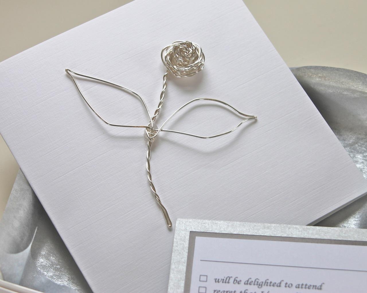 Boxed Wire Rose Wedding Invitation