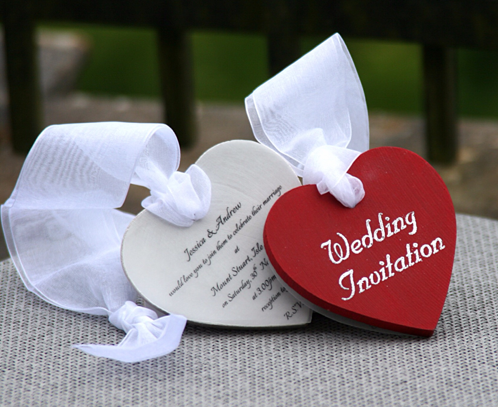 Red Boxed Wooden Heart Wedding Invitation