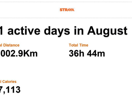 August training target nailed! Clocked 1,002,9Km in 21 trainings in 36hrs 44m