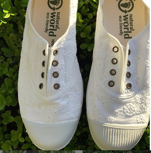 Tenis Natural World Eco Branco Bordado