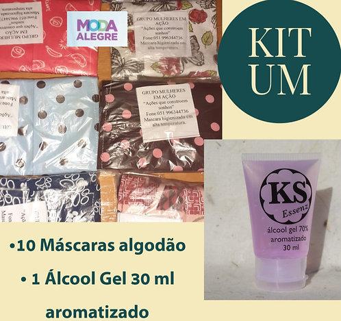 Kit 1 - 10 máscaras + 1 álcool gel 70% KS Essenz