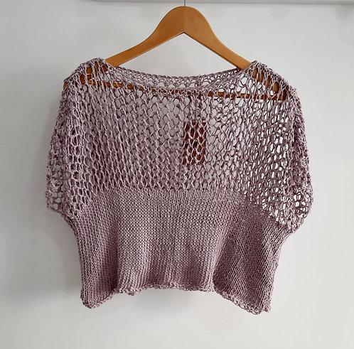 Blusa Cropped em linha italiana Cervinea 100% algodão Guga Fios & Arte