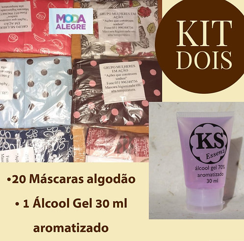 Kit 2 - 20 máscaras + 1 álcool gel 70% KS Essenz