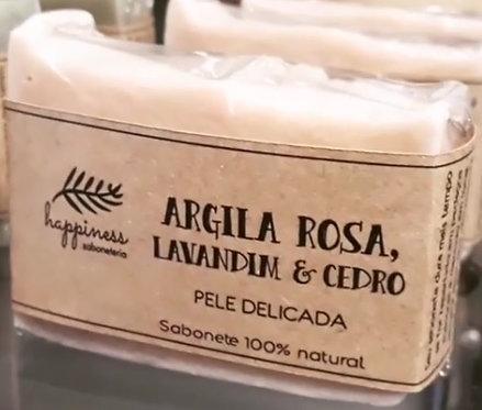 Sabonete Happiness Argila Rosa, Lavandim e Cedro