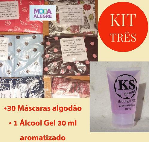 Kit 3 - 30 máscaras + 1 álcool gel 70% KS Essenz