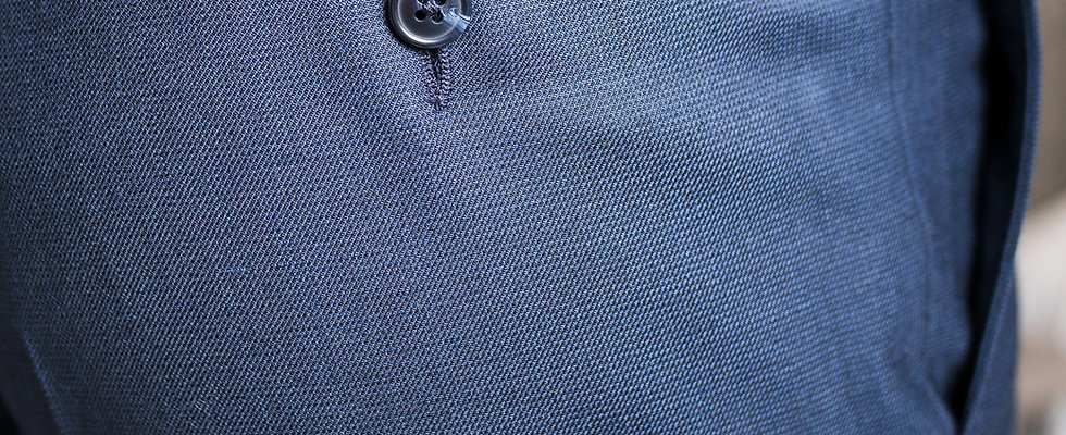 Pantalon piqué bleu Dormeuil