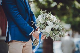 Dépareillé Bleu et Beige pour Mariage Fleuri Lille