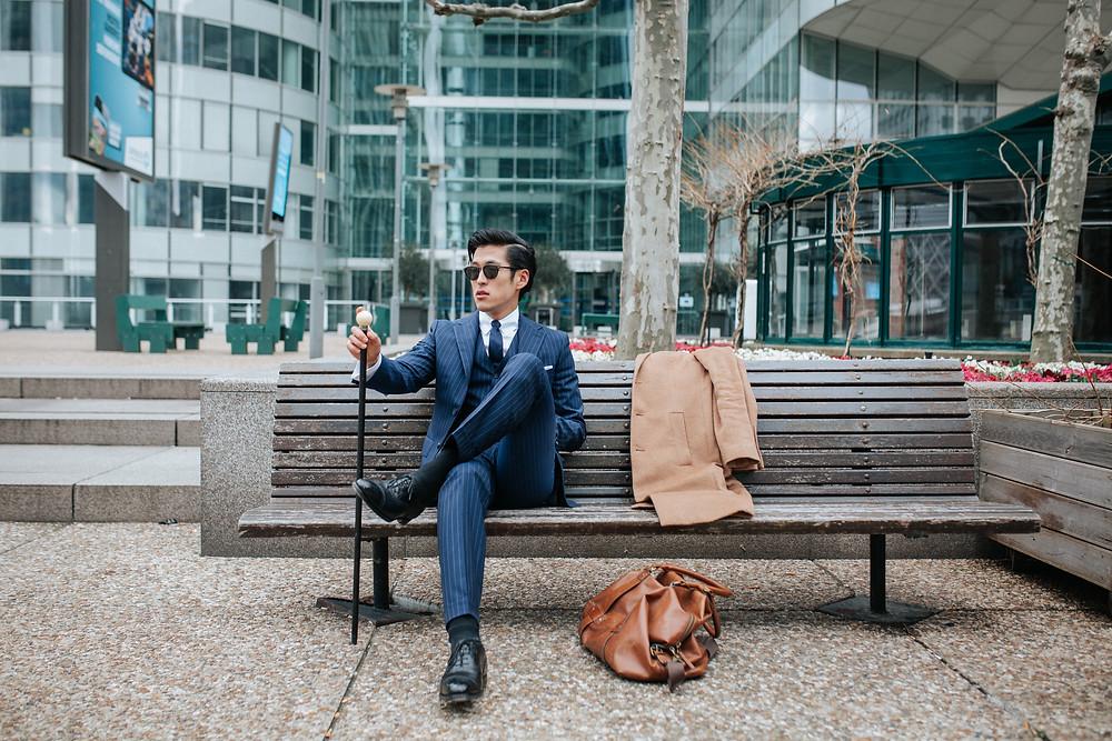 costume sur mesure gilet veste pantalon canne cravate sacoche manteau