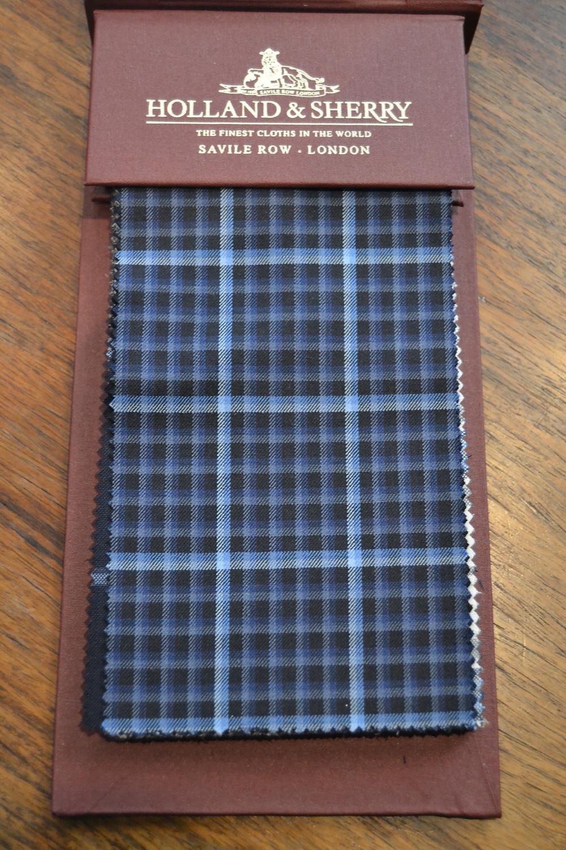 Tissu carreaux fenêtre bleu Holland & Sherry