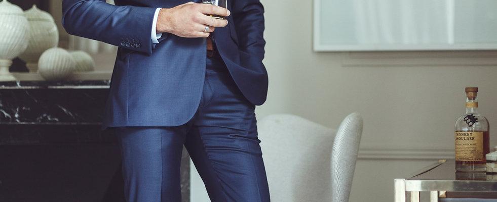 Pantalon fil à fil bleu marine