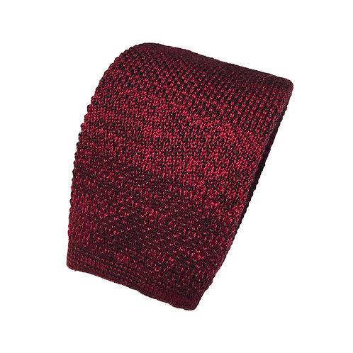 Cravate tricot rouge/bordeaux/lie de vin